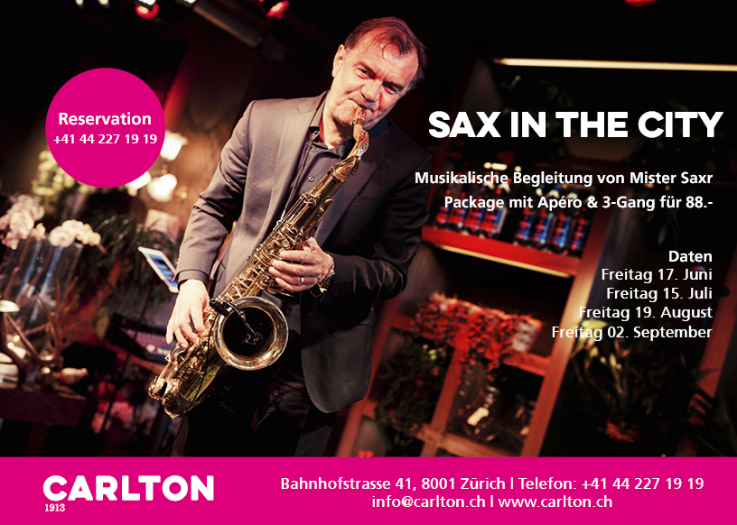 Sax in the City Flyer Saxophonist Zürich Schweiz