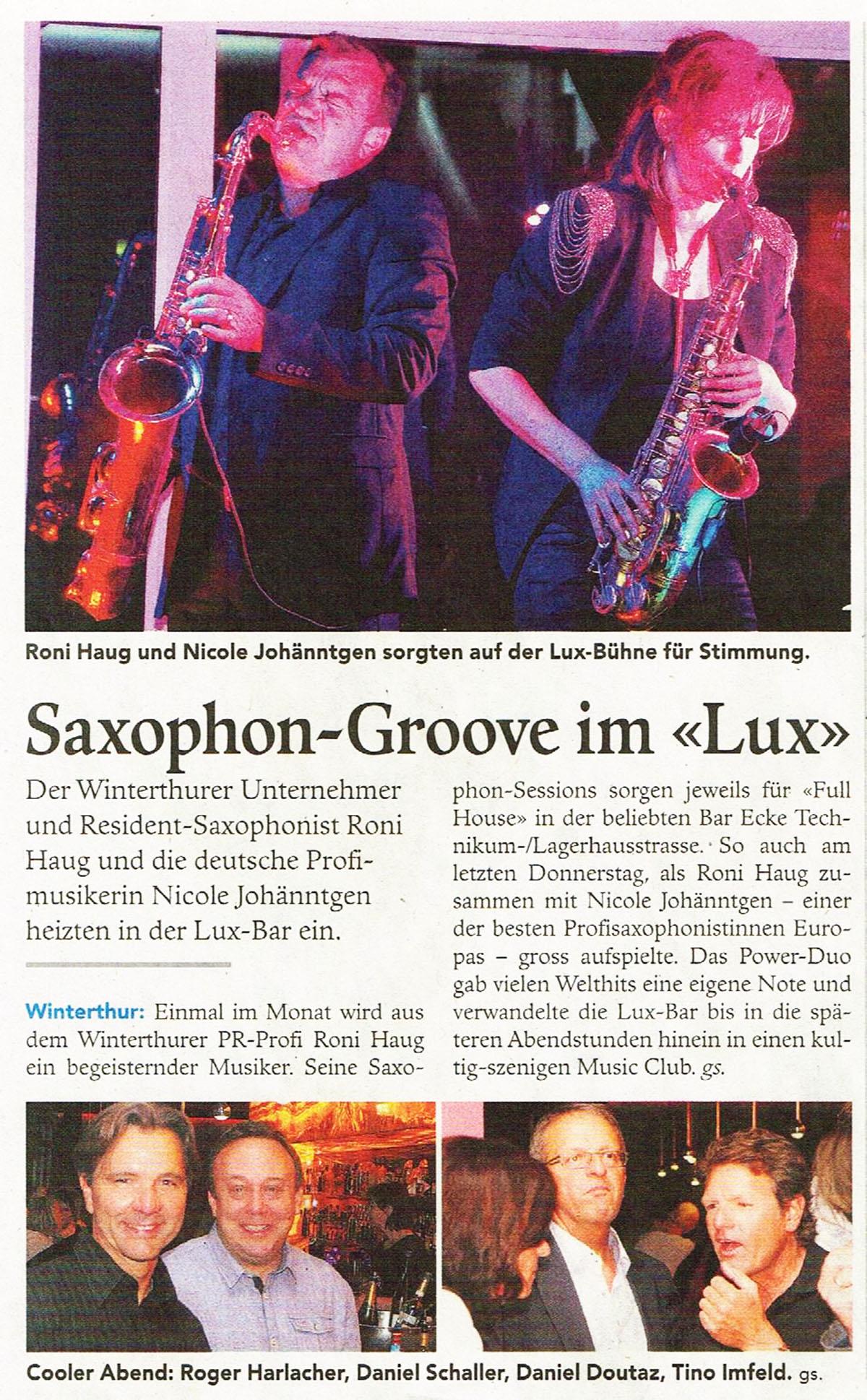 Saxophon Groove in der LUX Bar Saxophonist in Winterthur Zürich Gesucht in Sax Duo Zwei Saxofone Live