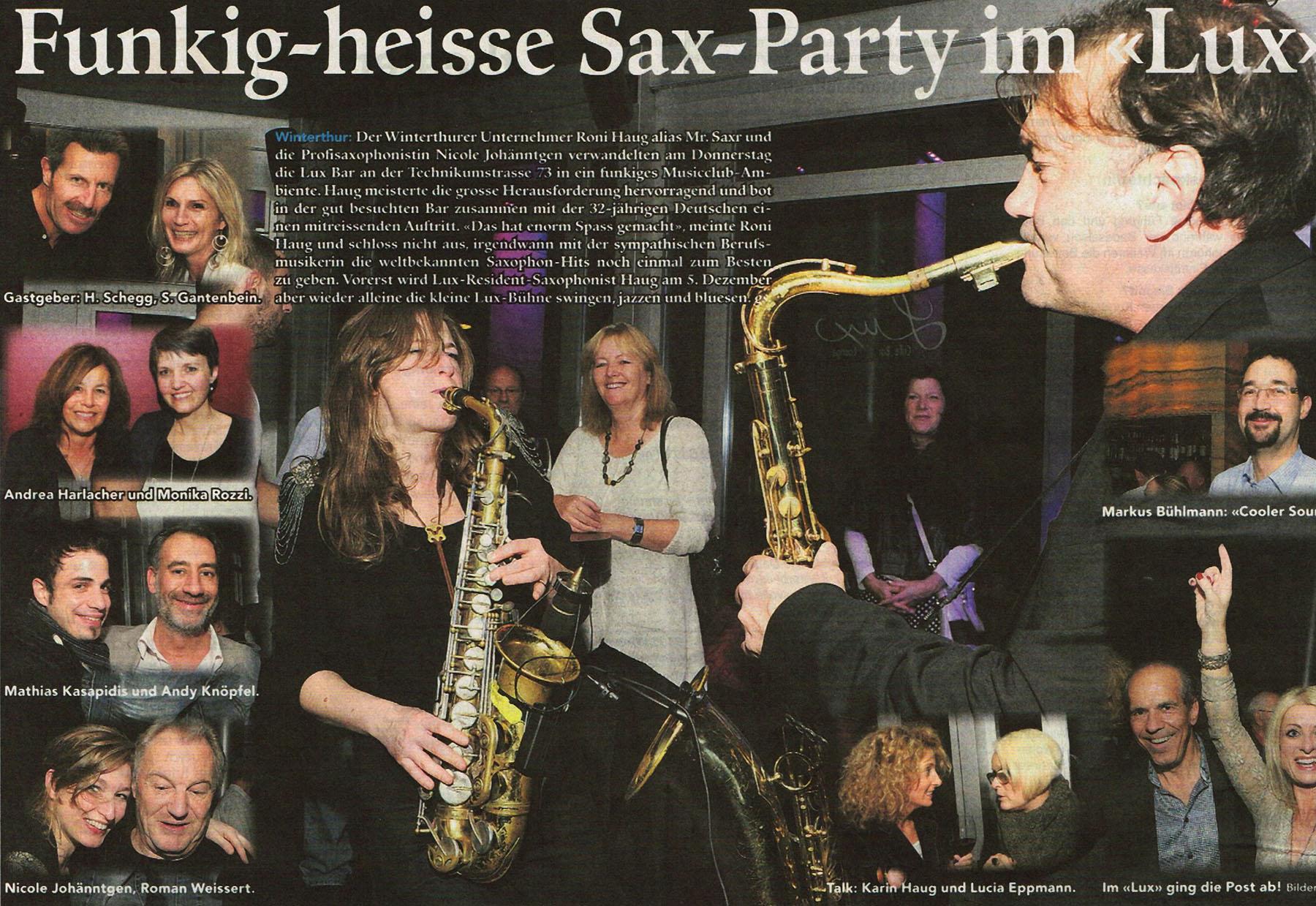 Stadtanzeiger Winterthur Saxophonist in Winterthur gesucht Funkig heisse Saxofon Party im Lux Winterthur